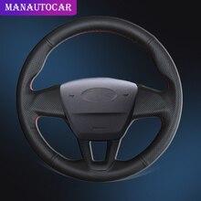 Araba örgü üzerinde direksiyon kılıfı Ford Focus 3 için 2015 2018 olmadan çok fonksiyonlu düğme otomatik direksiyon kapakları deri