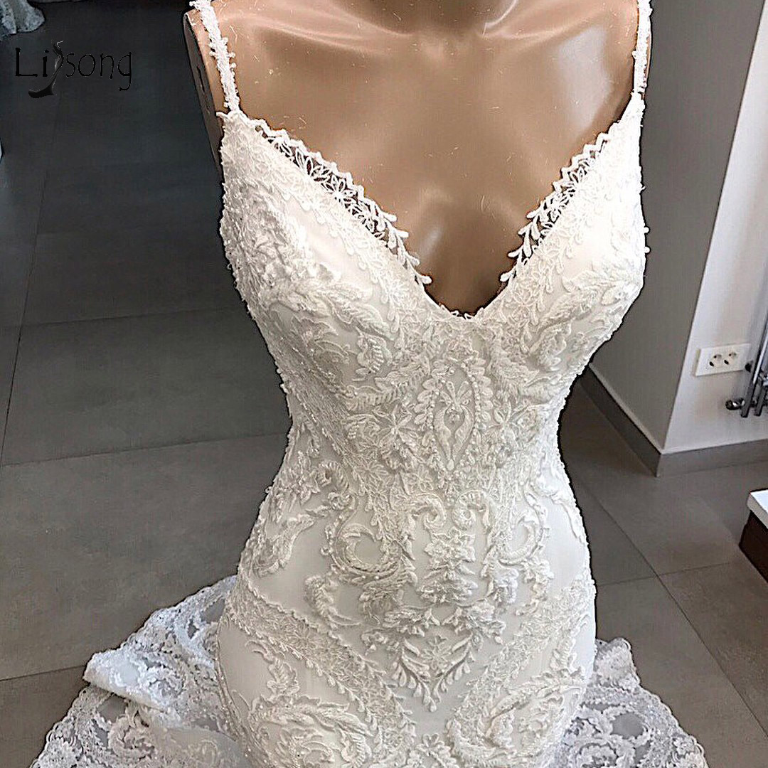 Real Image Unique Lace Mermaid Wedding Dresses Sexy Backless Bridal Gowns V-neck Appliques  Vestido De Noiva