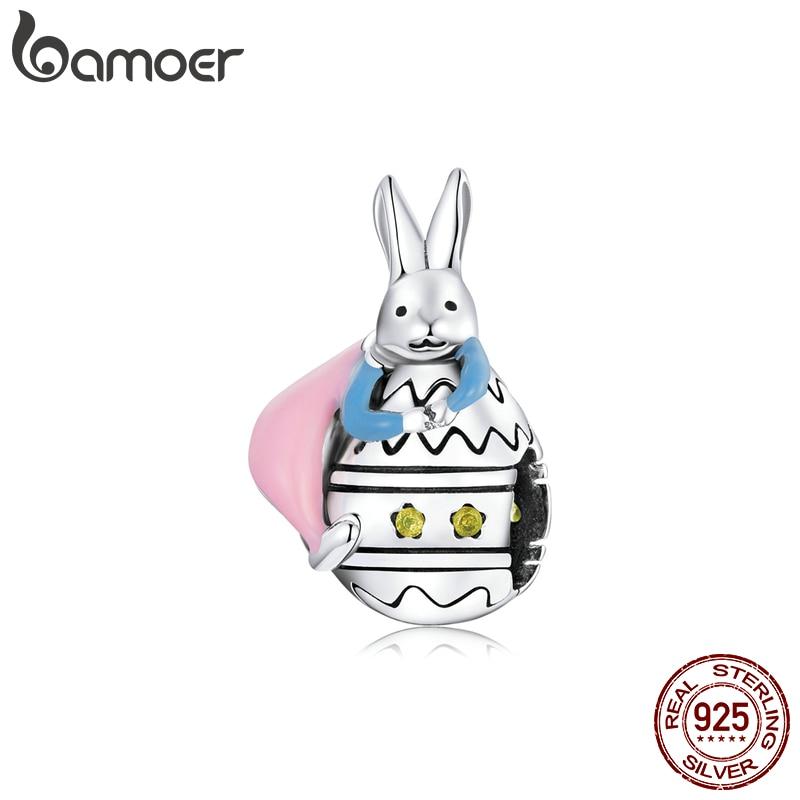 bamoer Real 925 Sterling Silver Easter Rabbit Eggs Colorful Heart Enamel Charm Original for DIY Jewelry Girls Kids gift SCC1754