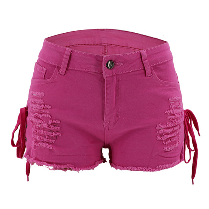 Summer Women Denim Shorts New High Waist Ripped Short Jeans Femme Tassel Lace Up Bandage Hot Jeans 2020
