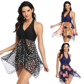 цена на Halter Tankini Swimsuit Plus size Swimwear Women Swimsuit Tankini Set With Shorts Two Piece Split Swim Bathing Suit Female Beach