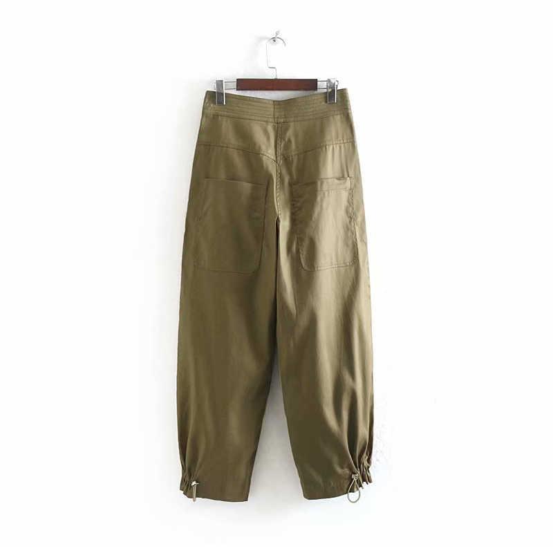 Dorywczo spodnie z wysokim stanem damskie spodnie Cargo moda kobiece luźne kieszenie spodnie pełnej długości zieleń wojskowa Streetwear