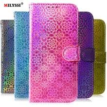 Laser Fluorescent Flip Case For Samsung A72 A52 A02S A32 A12 5G A11 A31 A41 M31 A01 A21 A70E A91 A81 Leather Case Fundas