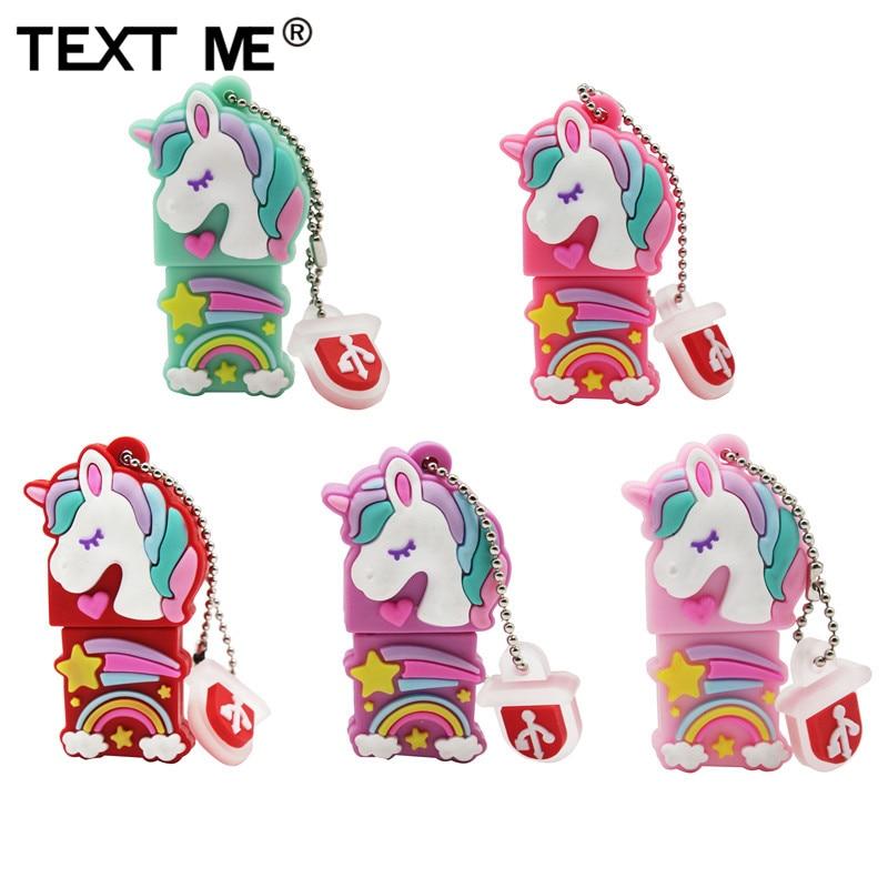 TEXT ME Usb2.0 Beautiful Colored Unicorn Usb Flash Drive Usb 2.0 4GB 8GB 16GB 32GB 64GB Pendrive Gift Usb