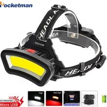 New 500m Long Range 30000Lumens COB Floodlight Usb Rechargeable Headlamp Use 2*18650 Battery Outdoor Searchlight Best Headlamps