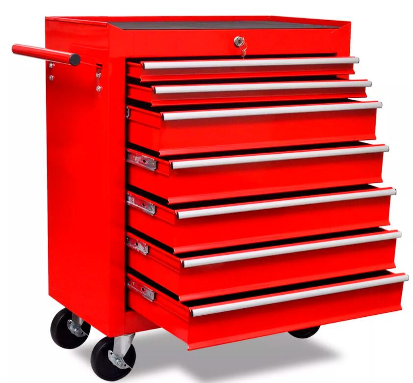 VidaXL 7 Tier Shelf Heavy Workshop Garage DIY Tool Storage Trolley Wheel Cart Tray Capacity For Holding Heavy Equipment
