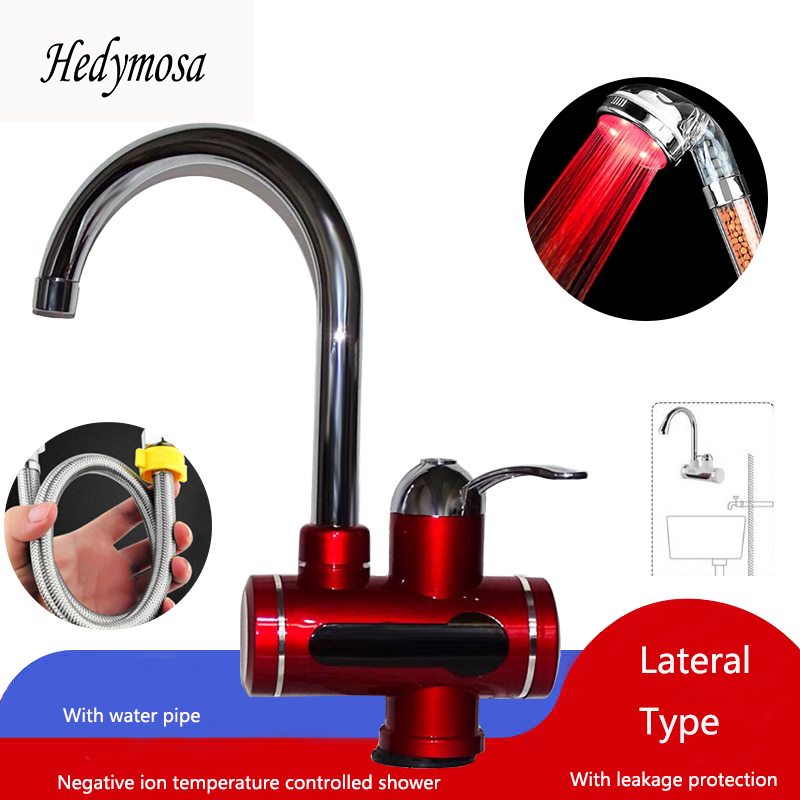 Hedymosa Red Faucets Water Heater  EU Plug Travel Immersion Heater  Induction Heater Tankless  220v  Heated  Instapot