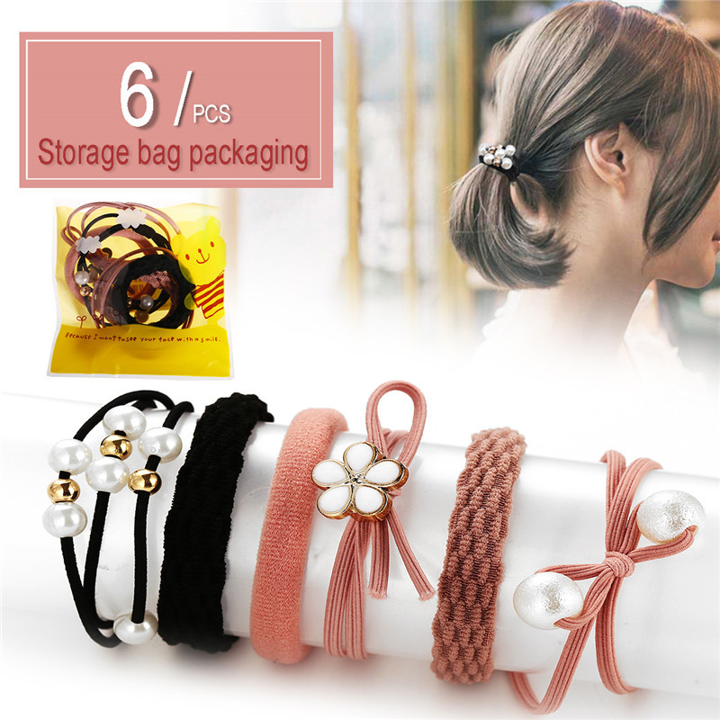 Fashion Hair Headwear 2020 Flower Pearl Elastic Hair Bands For Women Girls New Lace Hair Accessories New Bow Knot Headbands Set
