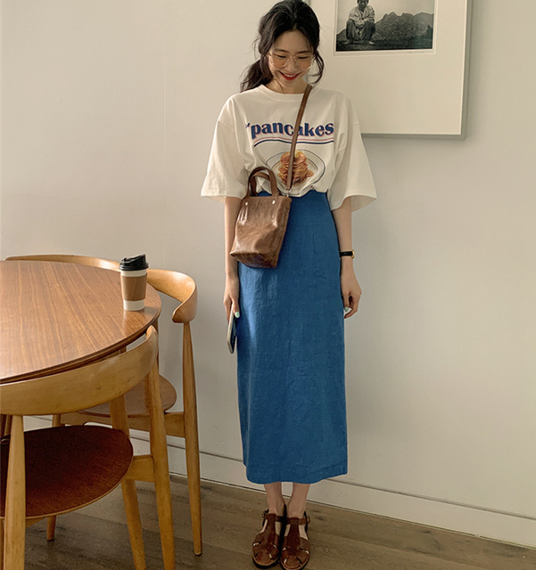 New Girls Summer T-shirt Women Suit Shirt Short Sleeves Tops High Waist Long Solid A Line Skirts Two Piece Suits Sell Separately 2