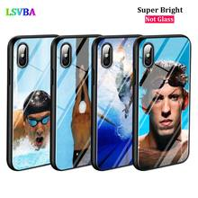 Black Cover Michael Phelps Swimming for iPhone X XR XS Max 8 7 6 6S Plus 5S 5 SE Super Bright Glossy Phone Case