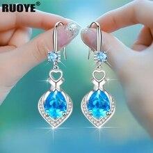 925 Sterling Silver Drop Earrings Luxury Crystal Heart Earrings Fashion Korea Silver Jewelry New 2020