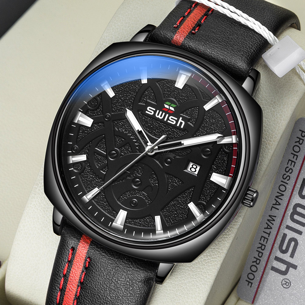 SWISH Watches Men Quartz-Clock Strap Business-Leather Masculino Military Waterproof Casual