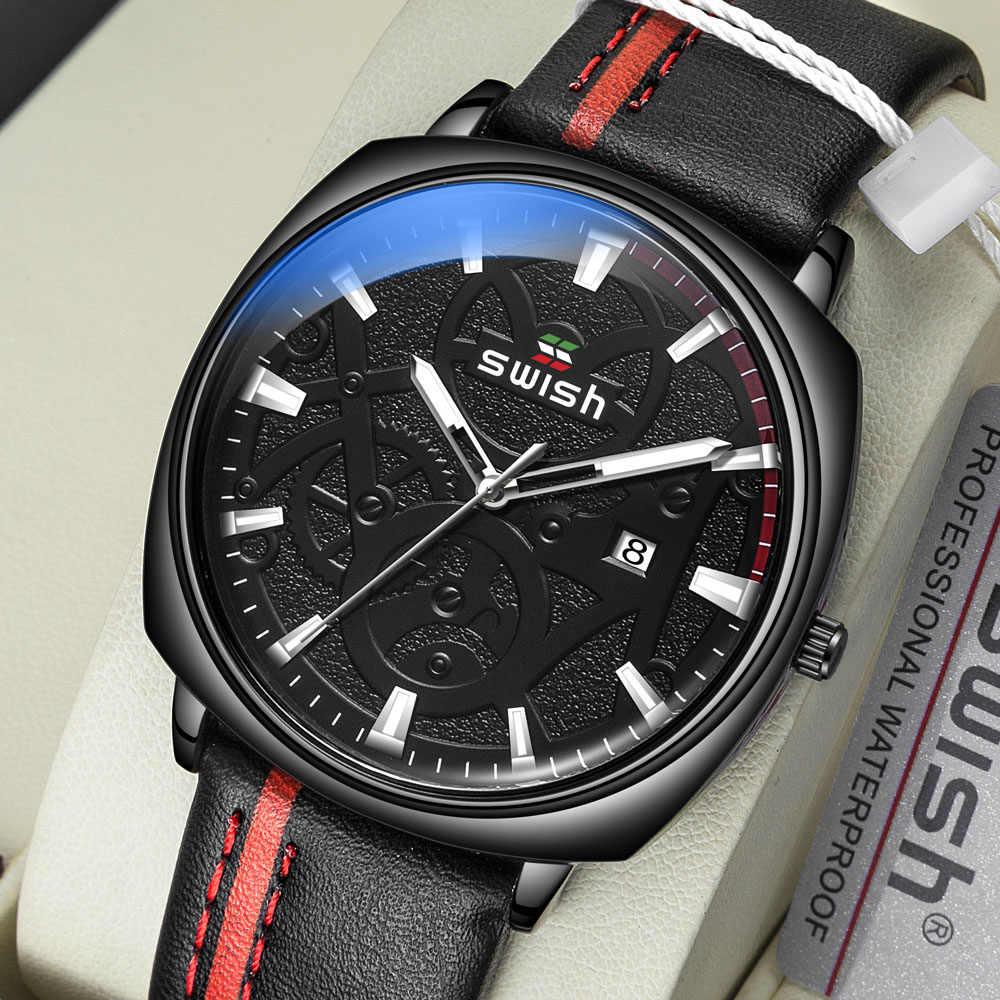 Swish relógios homens de luxo marca de negócios pulseira de couro relógios quartzo homem casual militar à prova dwaterproof água relogio masculino