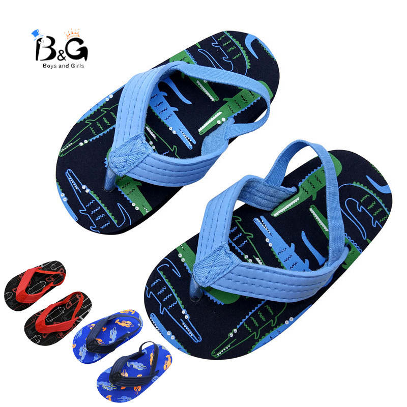 B&G Boys Beach Slipers Summer Girl Flip Flops Anti-slip Portable Slippers Breathable Boys Beach Shoes Kids Sandals