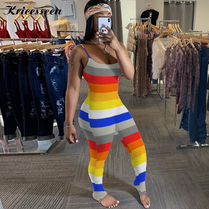 Kricesseen Fashion Straps Rainbow Striped Jumpsuits Rompers Casual Women Overalls Striped Print Bodycon Bodysuit Overalls