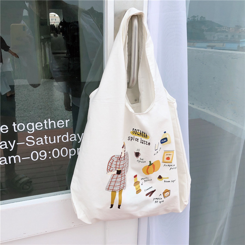 Korea Chic Illustration Design Printing  Canvas Bag Student Tutorial Bag Personality Environmental Protection Cloth Bag