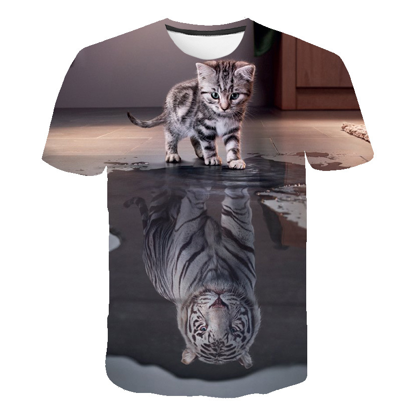 New 3D Animal Cat/tiger Graphics Cool T-shirt Summer Top T-shirt Male O-neck Short-sleeved Fashion Male Shirt Blouse