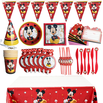 Cartoon Mickey Mouse Theme Cutlery Party Decoration Children's Birthday Party Supplies Baby Bath Supplies Decoration image