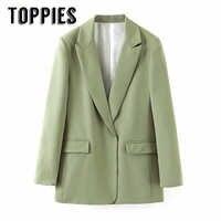 Ocio verde chaqueta de traje de las mujeres chaqueta de punto abrigo dama de oficina Formal chaqueta dentada Collar chaqueta mujer