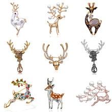 Weihnachten Deer Brosche Emaille Rentier Sika Deer Brosche Nette Schöne Tier Pin Winter Schmuck Pins Neue Jahr Geschenk Kragen Brosche
