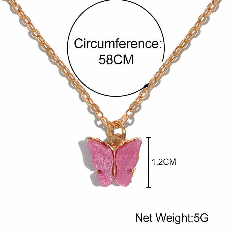 Flatfoosie Koreanische Nette Schmetterling Halskette Für Frauen Gold Farbe Lange Kette Anhänger Halskette Erklärung Fashion Charme Schmuck Geschenke