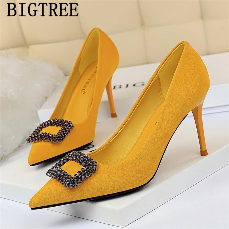 rhinestone heels yellow shoes bigtree