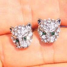 Venda quente cabeça de leopardo brincos para mulheres presente hip hop jóias legal strass animal festa brincos l3x569