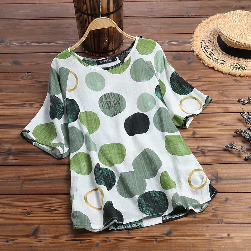 Plus Size ZANZEA Summer Short Sleeve Tops Women's Blouse Casual Polka Dot Shirt Loose Tunic Top Femme Party Blusas Chemise Mujer