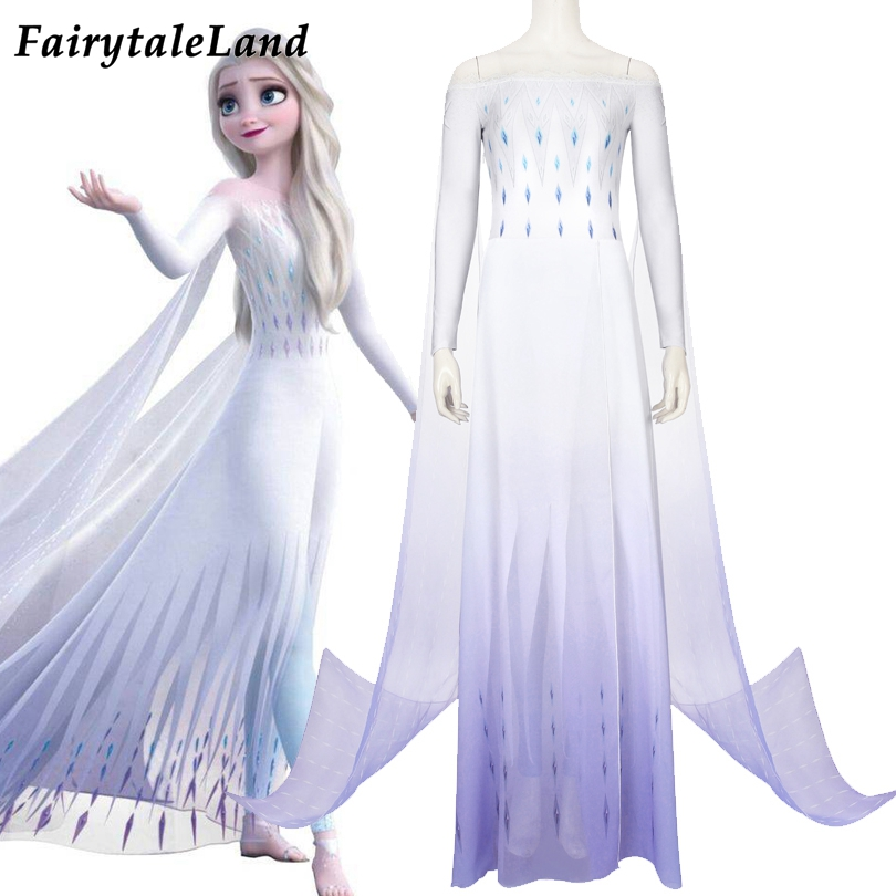 White Princess Elsa Cosplay Costume Fancy Ice Snow Flower White Dress Cosplay Carnival Halloween Anna Elsa Outfit Cloak Pants