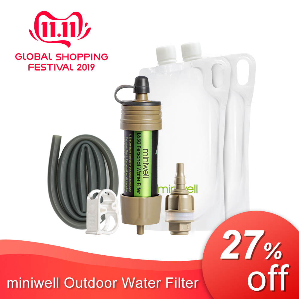 Miniwell L630 Portable Water Filter Emergency Survival Kit With Bag For Travelling ,Hiking & Camping