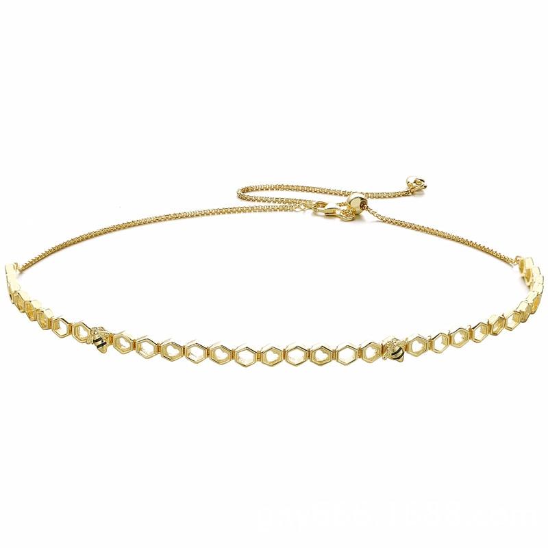 925 collier en argent Sterling couleur or nid d'abeille forme Shine abeille collier ras du cou pour les femmes cadeau de mariage bijoux à bricoler soi-même