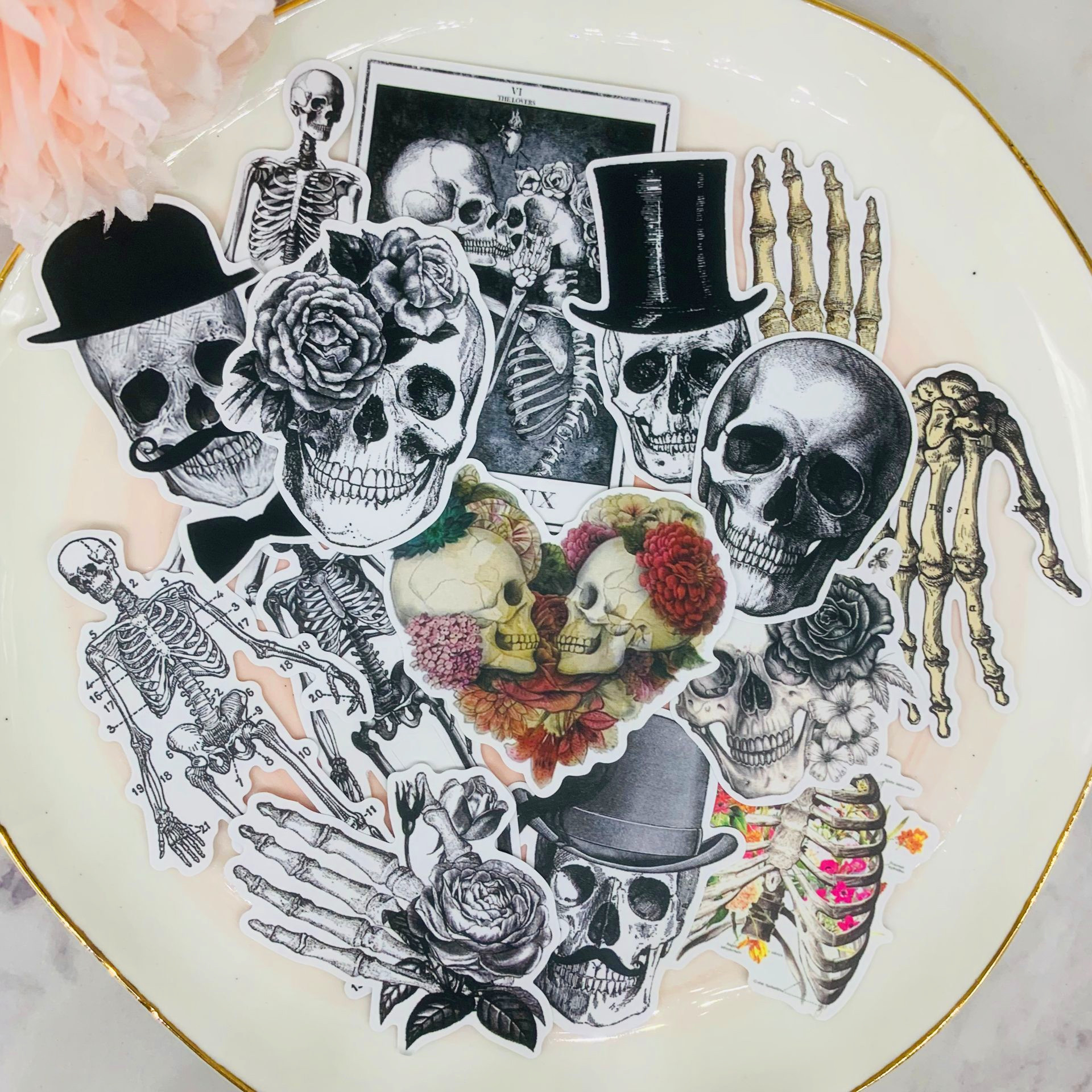 14PCS Human Skeleton Scrapbooking Stickers Book Student Kids Toys Notebook Label Decorative Sticker Paper Stationery