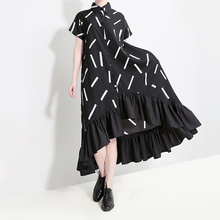 Spring and summer new style Fashion large size loose dress Temperament Short Sleeve Lapel Ruffle Dress