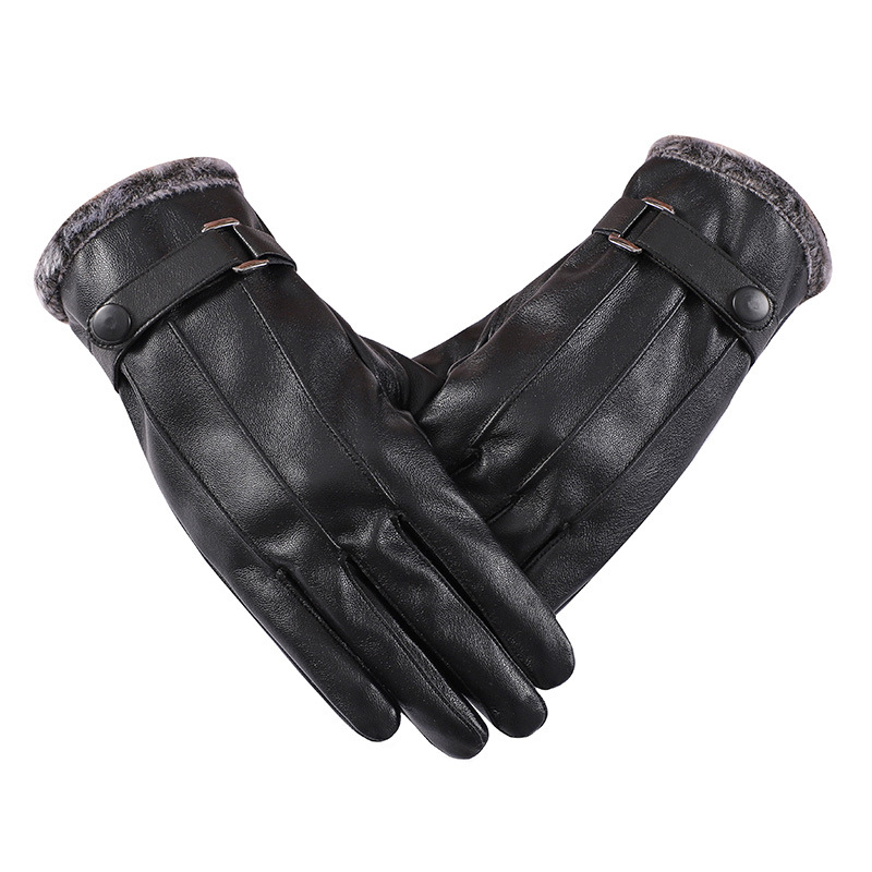 Winter Classic Three-way Tendons Pu Leather Gloves Fur Mouth Warm Touch Screen And Velvet Riding Bike Windbreak