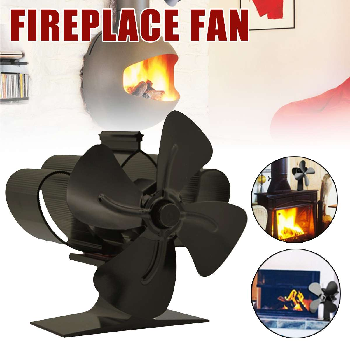 Black Stove Fan 4 Blade Fireplace Fan Heat Powered Wood Burner Eco-Friendly Fan Quiet Home Efficient Heat Distribution