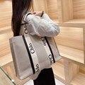 Знаменитый роскошный бренд 2021, новая модная Холщовая Сумка-тоут на плечо, Высококачественная женская сумка большой вместимости, сумка для п...