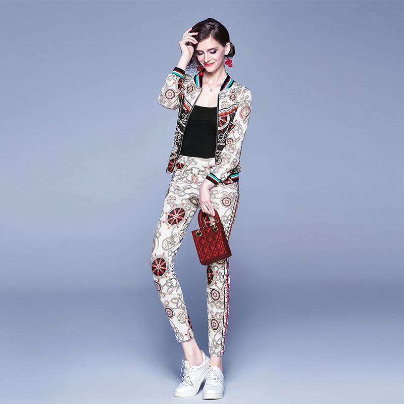 2019 Autumn Winter Two Piece Set Fashion Pant Suits Designer Zip-up Slim Print Short Jacket Coat +Pencil Pants Female Work Suits