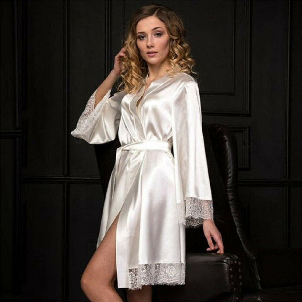 Women Sexy Lace Trimmed Silky Satin Robe Lingerie Lady Casual Loose Solid Knee Length Kimono Nightwear Nightgown