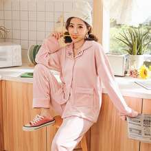 2019 Winter New Ladies Flannel Pajamas Set Solid Color Sweet Pink Sleepwear 2PCS Women Comfort Thick Female Homewear