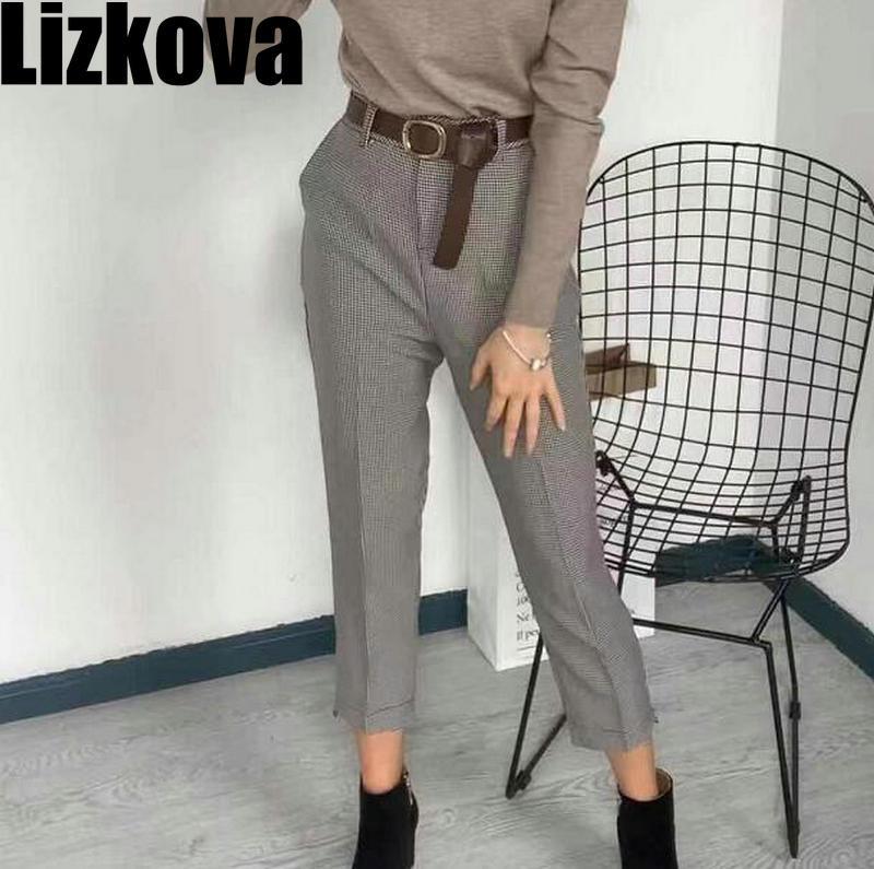 Fall 2019 Women High Waist Plaid Pants With Belt Elegant Office Lady Checker Trousers