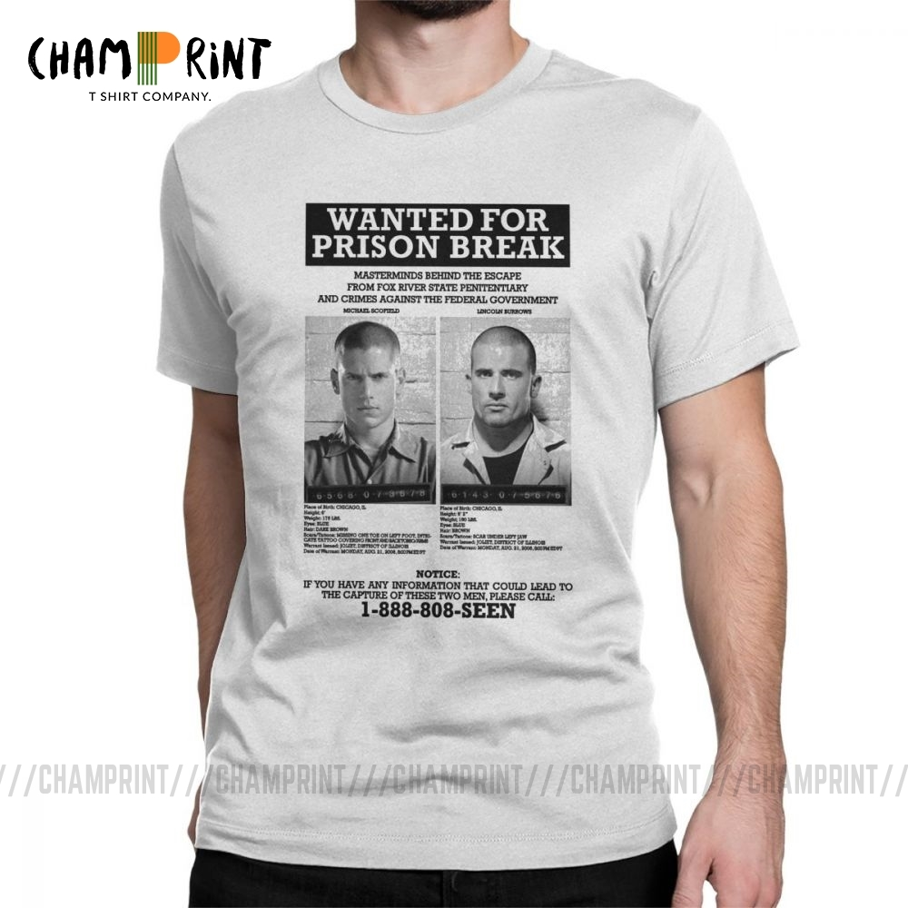 Wanted For <font><b>Prison</b></font> <font><b>Break</b></font> T <font><b>Shirts</b></font> for Men 100% Cotton Funny T-<font><b>Shirts</b></font> Crewneck Tee <font><b>Shirt</b></font> Short Sleeve Clothes Printed image