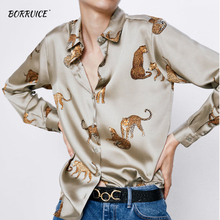 Women Fashion Blouses Long Sleeve Turn-down Collar Casual Tops Leopard Print OL Style Office