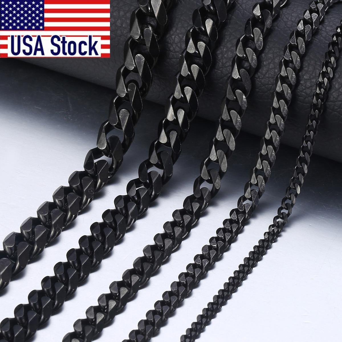Männer Halskette Edelstahl Cuban Link Kette Schwarz Gold Halsketten Für Männer 18-36