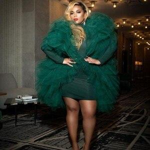 Модные изумрудно-зеленые женские топы-пачки миди с оборками, женские блузки, женские топы Vadim