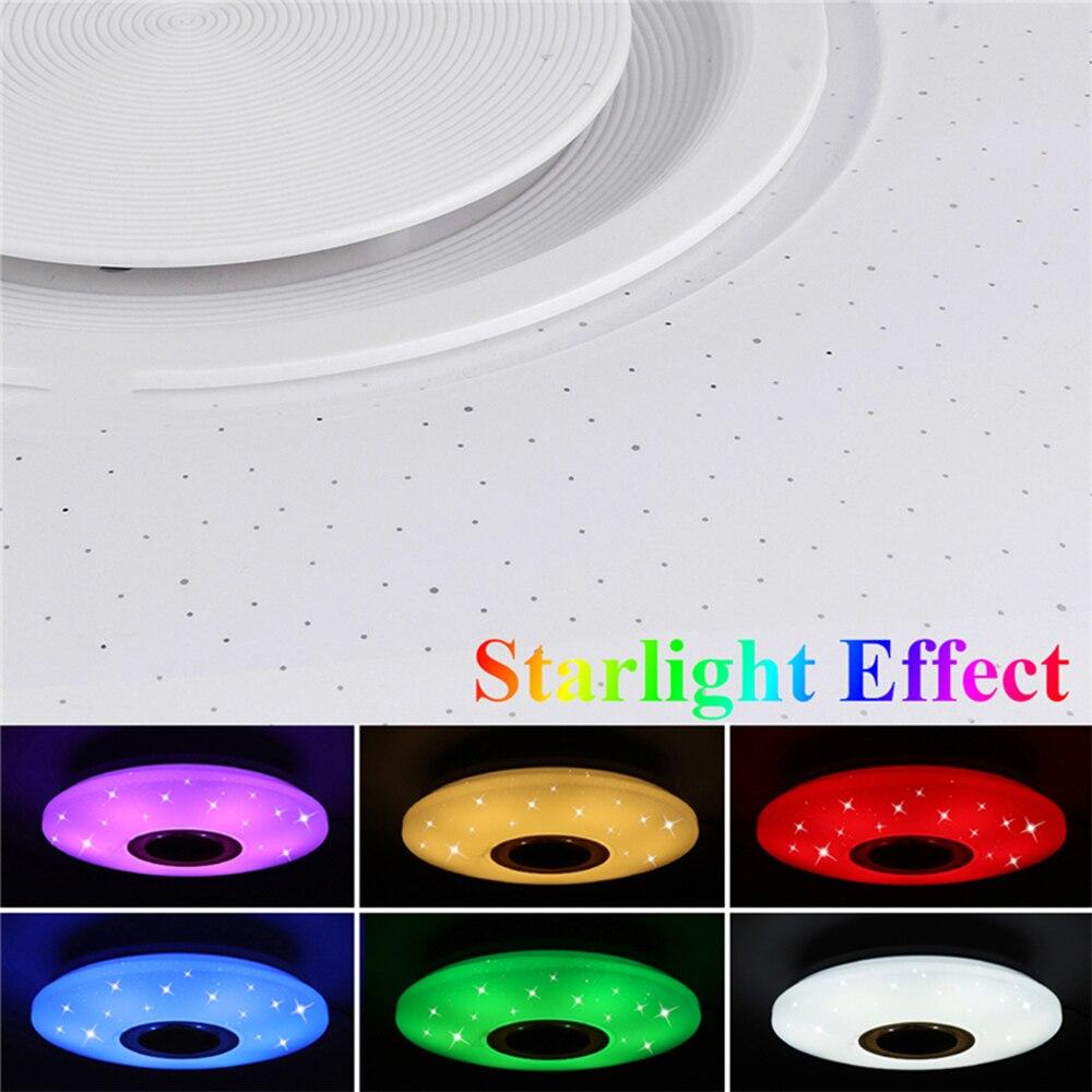 HEIßER Musik Led Decke Licht Lampe 60W Rgb Flush Mount Runde Musik Mit Bluetooth Lautsprecher Dimmbare Farbwechsel Licht