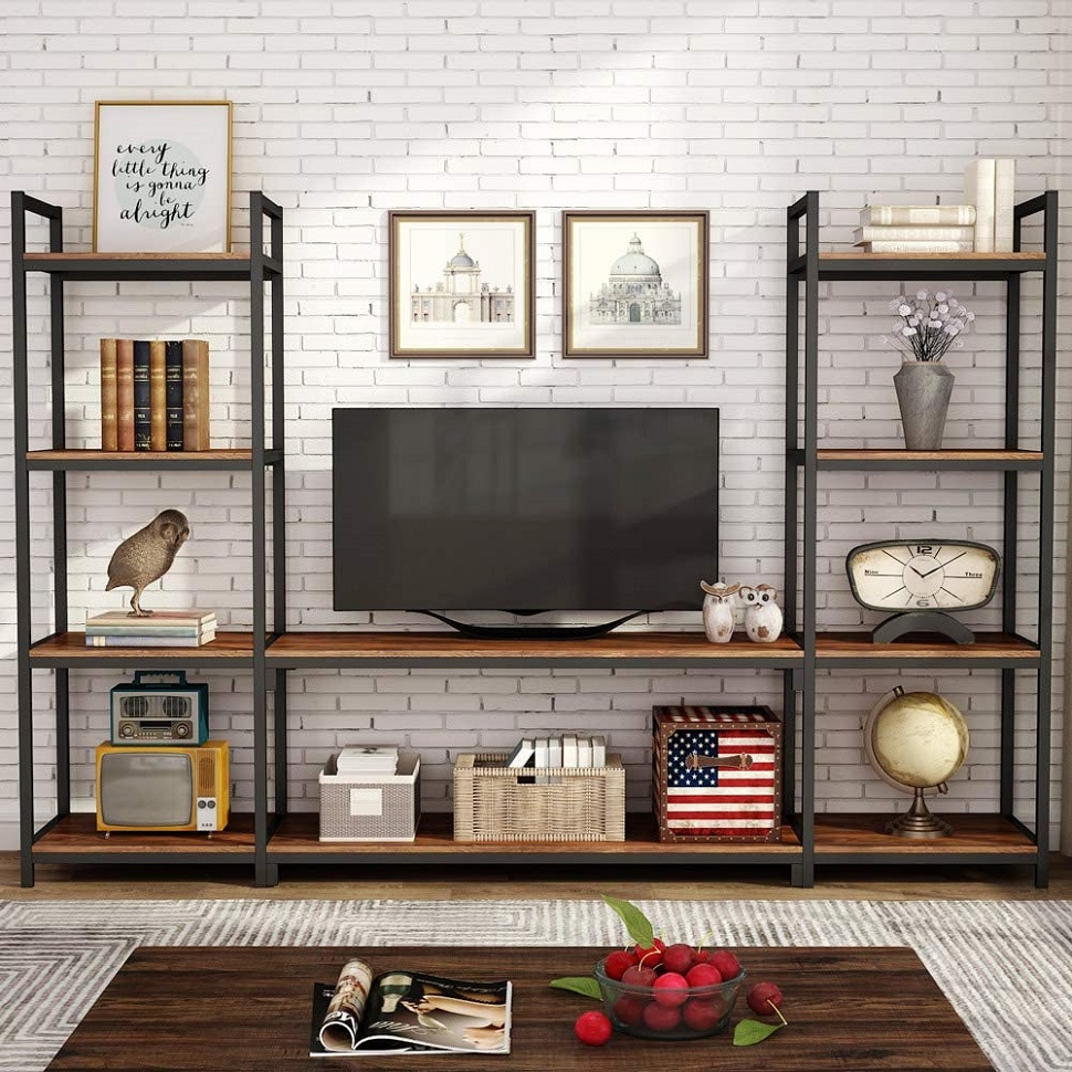 Tribesigns Large 3-piece Entertainment Center Wall Cabinet With Storage, Bookshelf, Bookshelf For Living Room