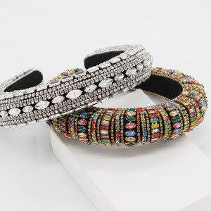 Image 5 - Nouveau Baroque européen et américain industrie lourde mode sauvage strass perle métal fleur tempérament luxe bandeau 885
