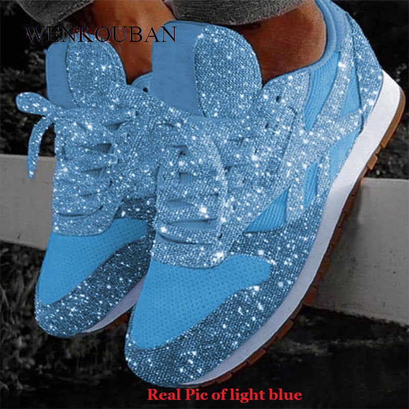 Women Bling Sneakers 2019 Autumn New Casual Flat Ladies Vulcanized Shoes Breathable Lace Up Sequin Basket Femme Tenis Feminino