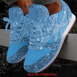 Image 1 - Women Bling Sneakers 2020 Autumn New Casual Flat Ladies Vulcanized Shoes Breathable Lace Up Sequin Basket Femme Tenis Feminino