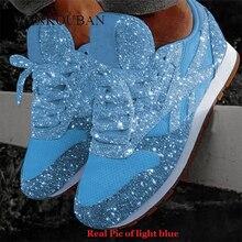 Women Bling Sneakers 2020 가을 뉴 캐쥬얼 플랫 레이디스 가황 처리 된 신발 통기성 레이스 업 스팽글 바구니 Femme Tenis Feminino